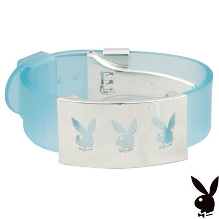 Playboy Bracelet Cuff Triple Bunny Logo Stainless Steel Blue Silicone Adjustable RARE