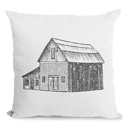 Barn Throw Pillow (Bonnie Jeans Homestead Prints Farmhouse Throw Pillow- Rustic Barn - Home Decor (Oatmeal,)