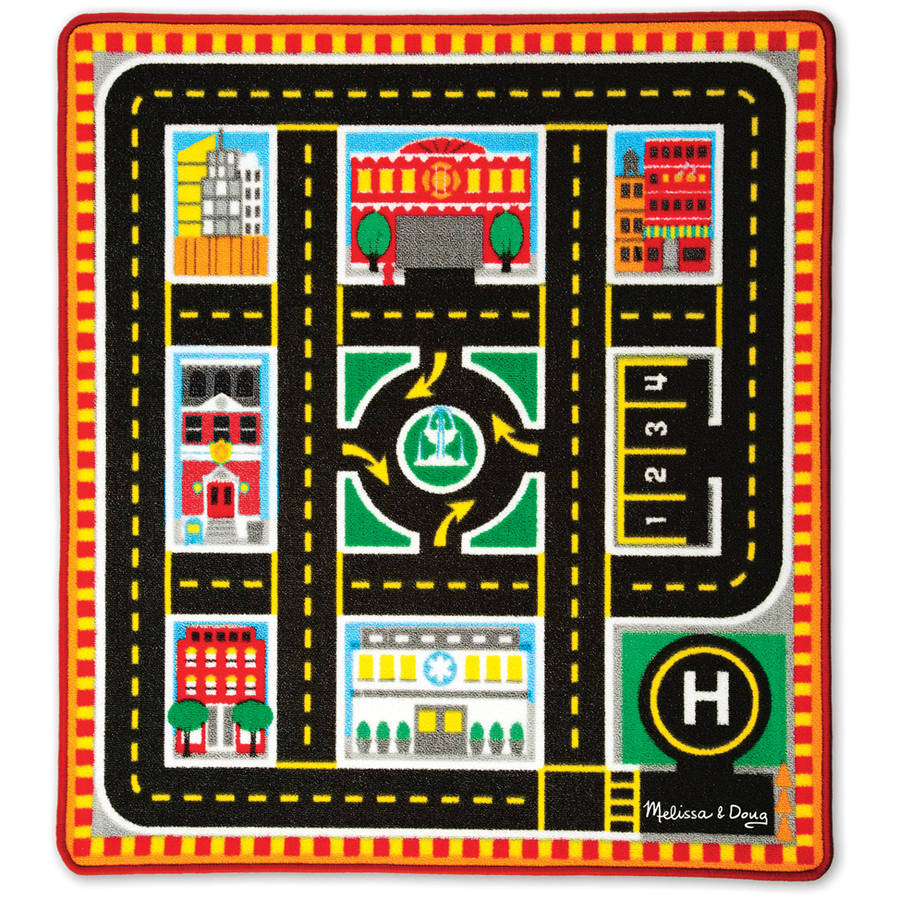 Melissa & Doug Round The City Rescue Rug with 4 Wooden Vehicles, 39  x 36