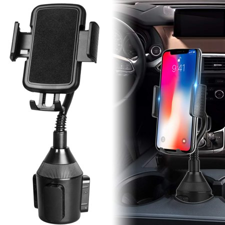 Adjustable Automobile Car Cup Holder Phone Mount with Longer Neck & 360° Rotatable Cradle for iPhone XS XR XS Max X 8 8 Plus 7 7+ 6s, Samsung Galaxy S10/S10E/S9/S8/Note 9/8, LG