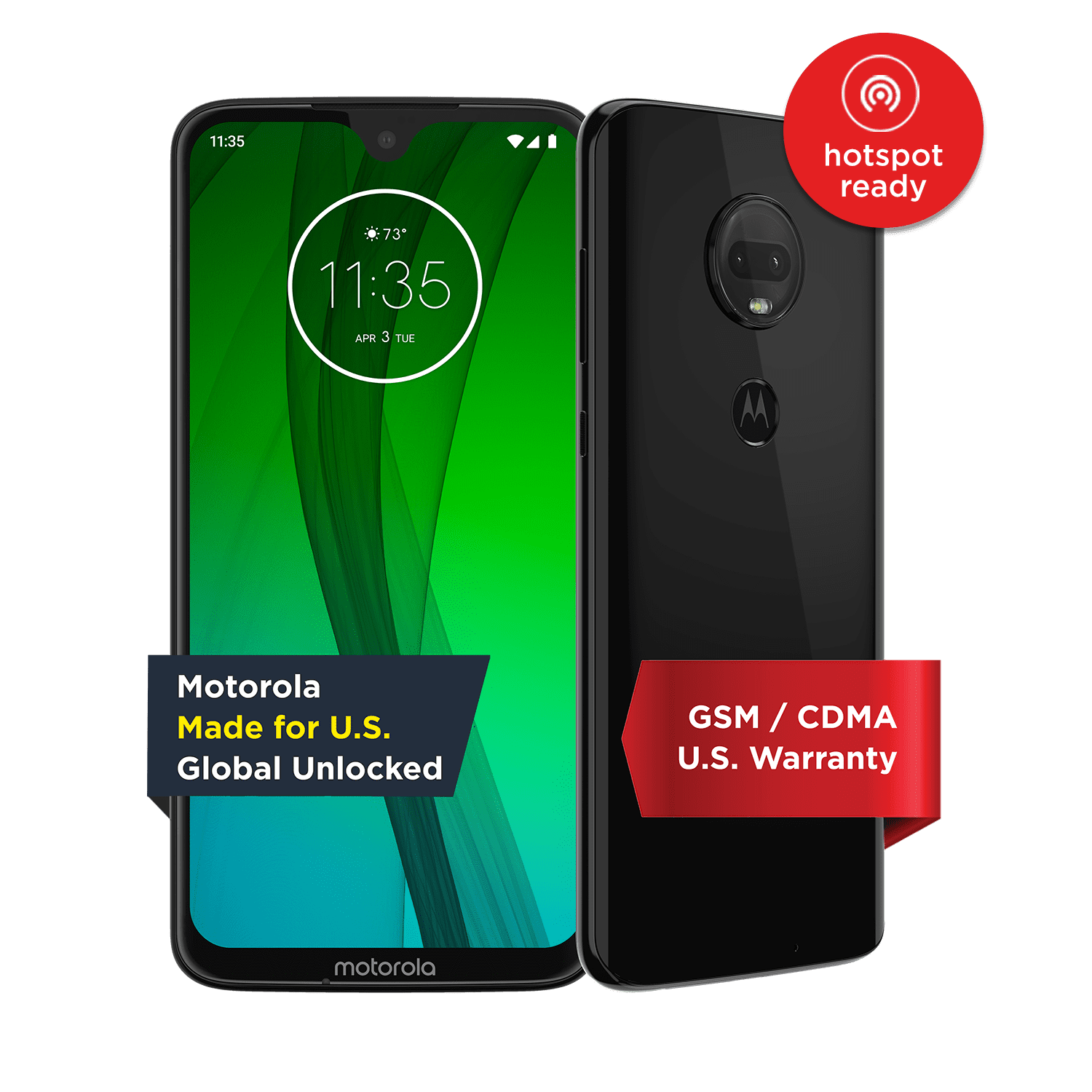 Moto G7 – Unlocked Smartphone – 64 GB – Ceramic Black (US Warranty)