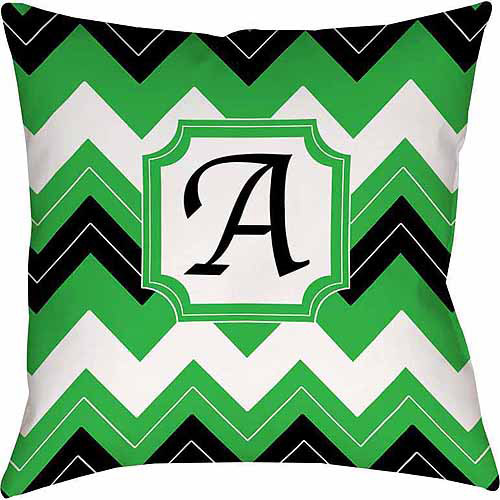 Thumbprintz Chevron Monogram Decorative Pillow, Black