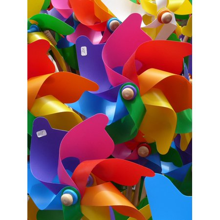 Canvas Print Wind Children Colorful Toys Windr??der Pinwheel Stretched Canvas 10 x 14 - Pinwheel Toy
