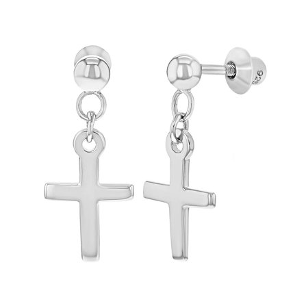 925 Sterling Silver Cross Dangle Earrings Safety Screw Backs Young Girls Teens ()
