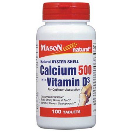 Mason Natural Oyster Shell Calcium 500 with Vitamin D3 Tablets, 100 Ct