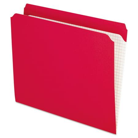 Pendaflex Reinforced Top Tab File Folders, Straight Cut, Letter, Red,