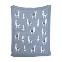 3R Studios Grey Cotton Knit Llama Blanket