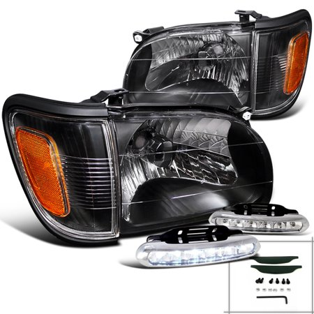 Spec-D Tuning For 2001-2004 Toyota Tacoma Black Headlights + Turn Signal + Led Running Fog Lamps (Left+Right) 2001 2002 2003