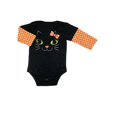 My Halloween Infant Girls Black & Orange Dot Kitty Cat Creeper Baby Bodysuit