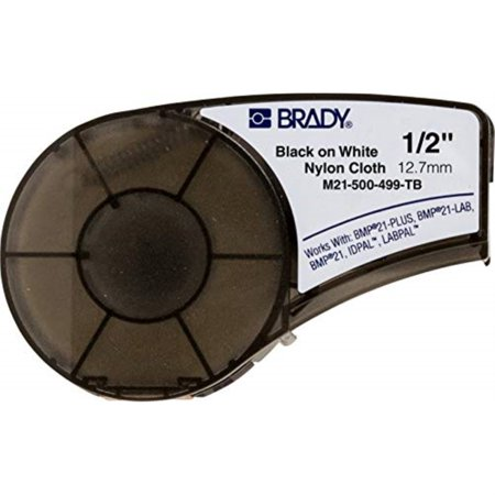 brady high adhesion cloth label tape (m21-500-499-tb) - black on white nylon - compatible with bmp21-plus, id pal, and labpal printers - 16