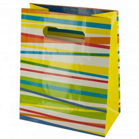 Bulk Buys BG511-144 Stripes Gift Bag, Multi-Color - 144 Piece - Bulk Gift Bags