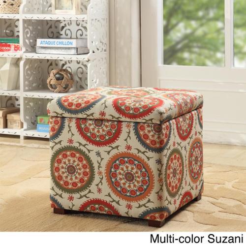HomePop Fashion Storage Ottoman Multi-color suzani fabric