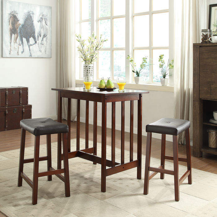 Coleman 3 Piece Rubberwood Counter Height Bistro Table And Stool Set