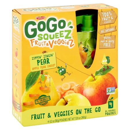 (3 Pack) GoGo Squeez Fruit & Veggiez On The Go Apple Pear Carrot - 4 (Go Greens Fruit)