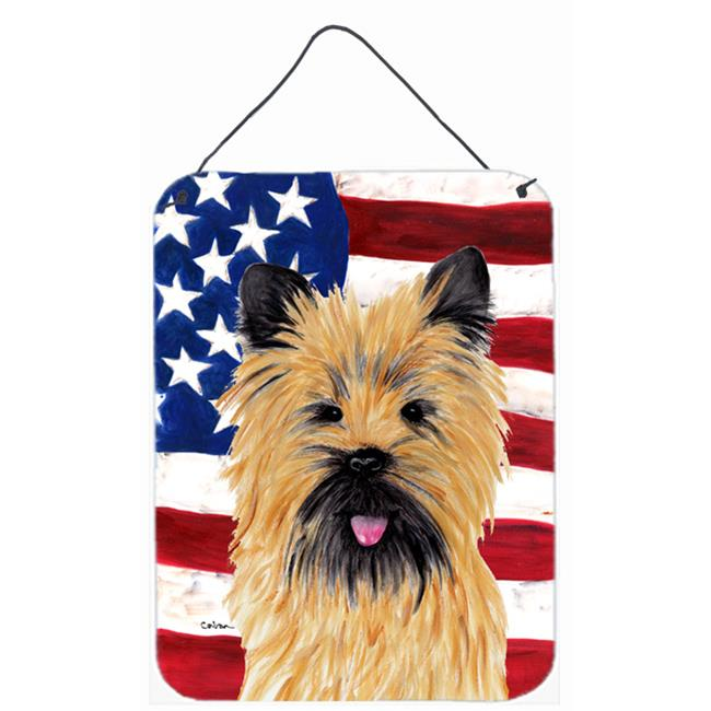 Carolines Treasures SC9017DS1216 USA American Flag with Cairn Terrier Aluminium Metal Wall Or Door Hanging Prints - image 1 of 1