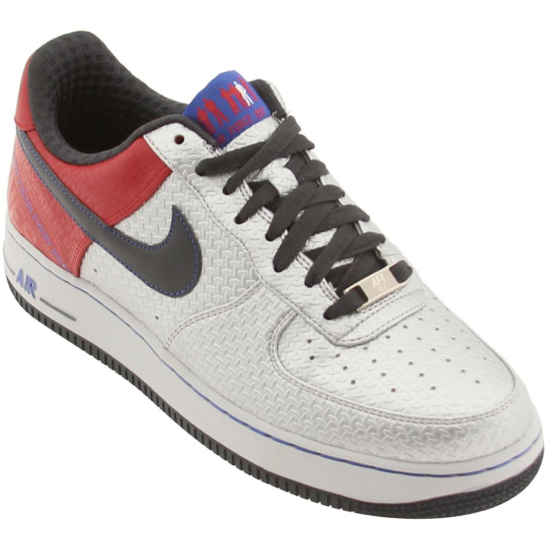 Nike Men Air Force 1 Low Premium '07 (Jones) Silver / Red