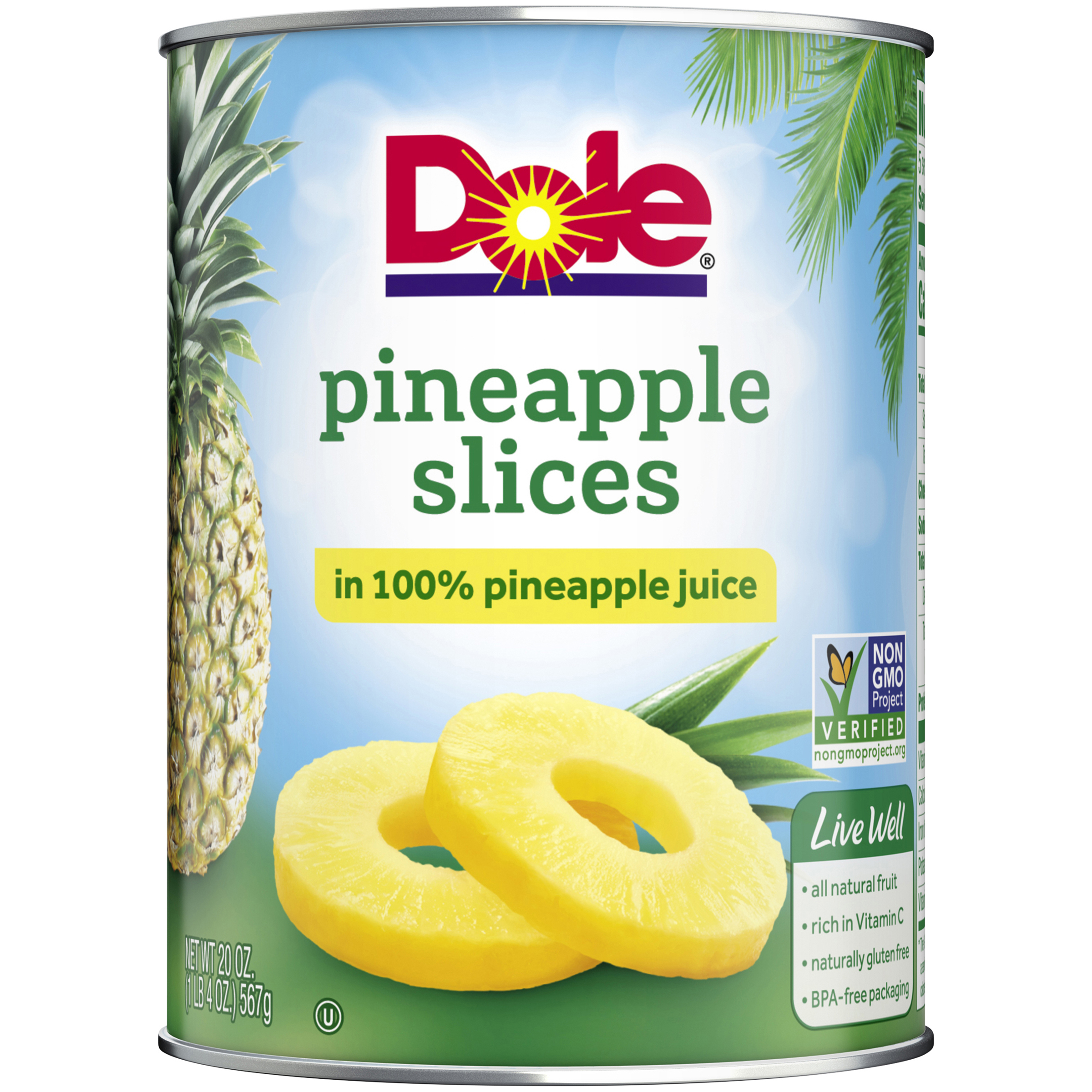 Dole Pineapple Slices in 100% Pineapple Juice 20 oz. Can