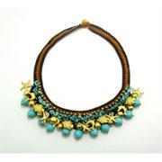 WNK International STUG007 Handmade Turquoise and Brass Beads Necklace and Bracelet Set