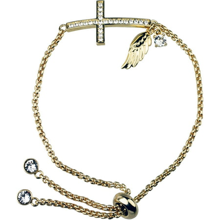 Swarovski Crystal Fine Silver Plated/14kt Gold Flash Cross/Angel Wing Adjustable Bracelet
