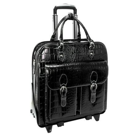 Ladies Laptop Case - Siamod San Martino Ladies Detachable-Wheeled Italian Crocco Leather Laptop Case - Black