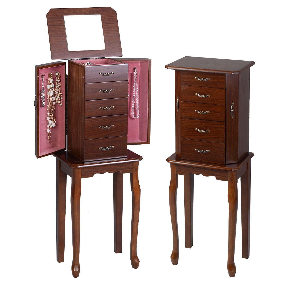 Image of: Costway Jewelry Cabinet Armoire Storage Chest Stand Organizer Wood Box Walnut Walmart Com Walmart Com