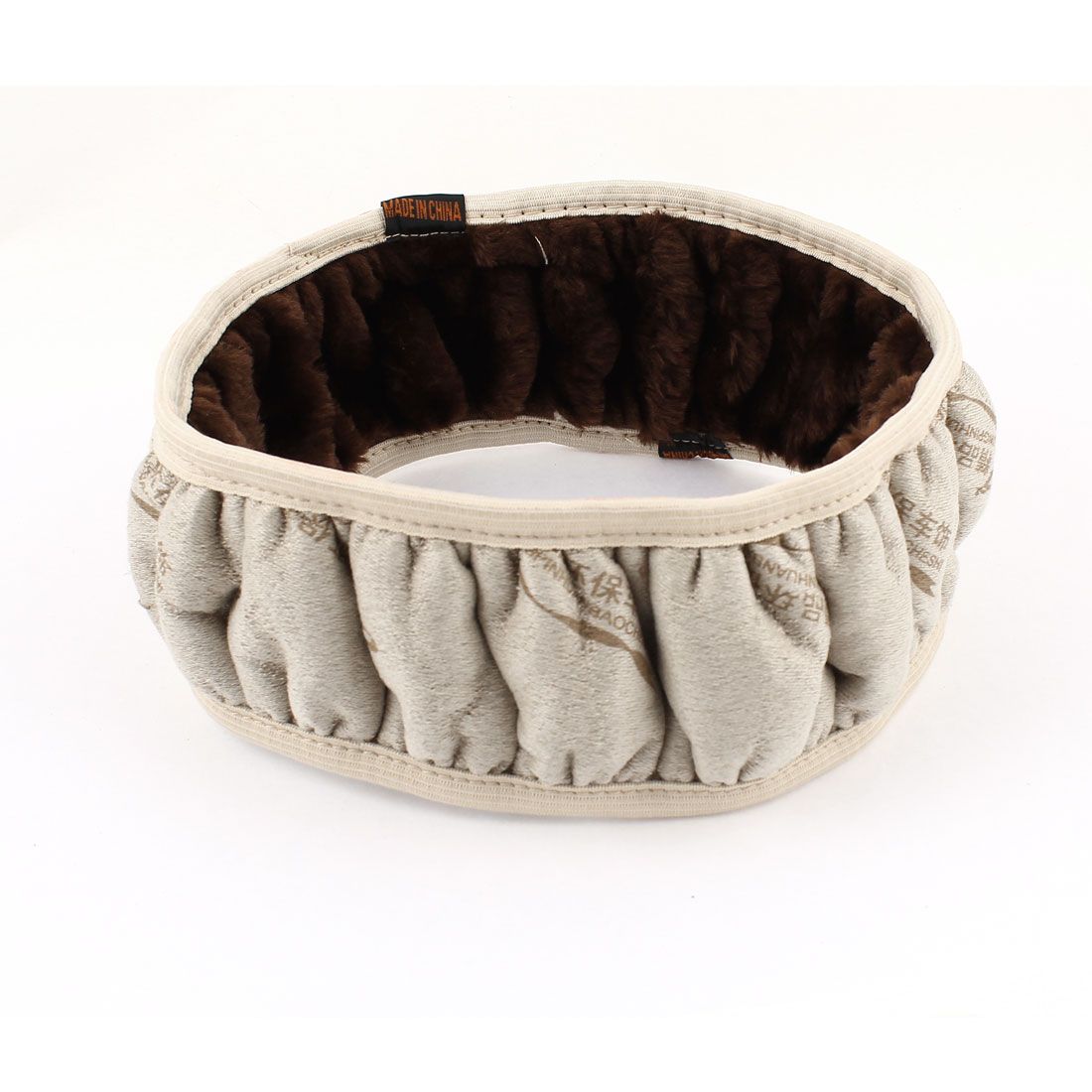 Unique Bargains Coffee Color Gray Plush Elastic Steering Wheel Cover Protector for Auto Vehicle