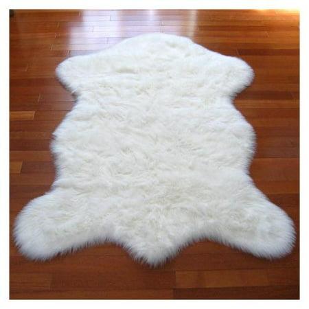 Walk On Me Rugs Snowy White Faux Polar Bear Pelt Sheepskin Rug 2 3