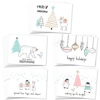Pack of 25 Holiday Greeting Notecards, 5 Lovely Nature Christmas Season Designs, Warmest Greetings Card Set with Envelopes Included, 25 Mixed Variety Boxed Cards, Great Value by Digibuddha VHA0042B