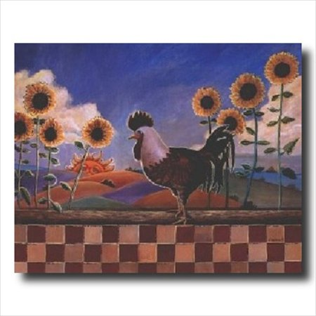 Sunflowers Chicken Hen Rooster Wall Picture Art Print
