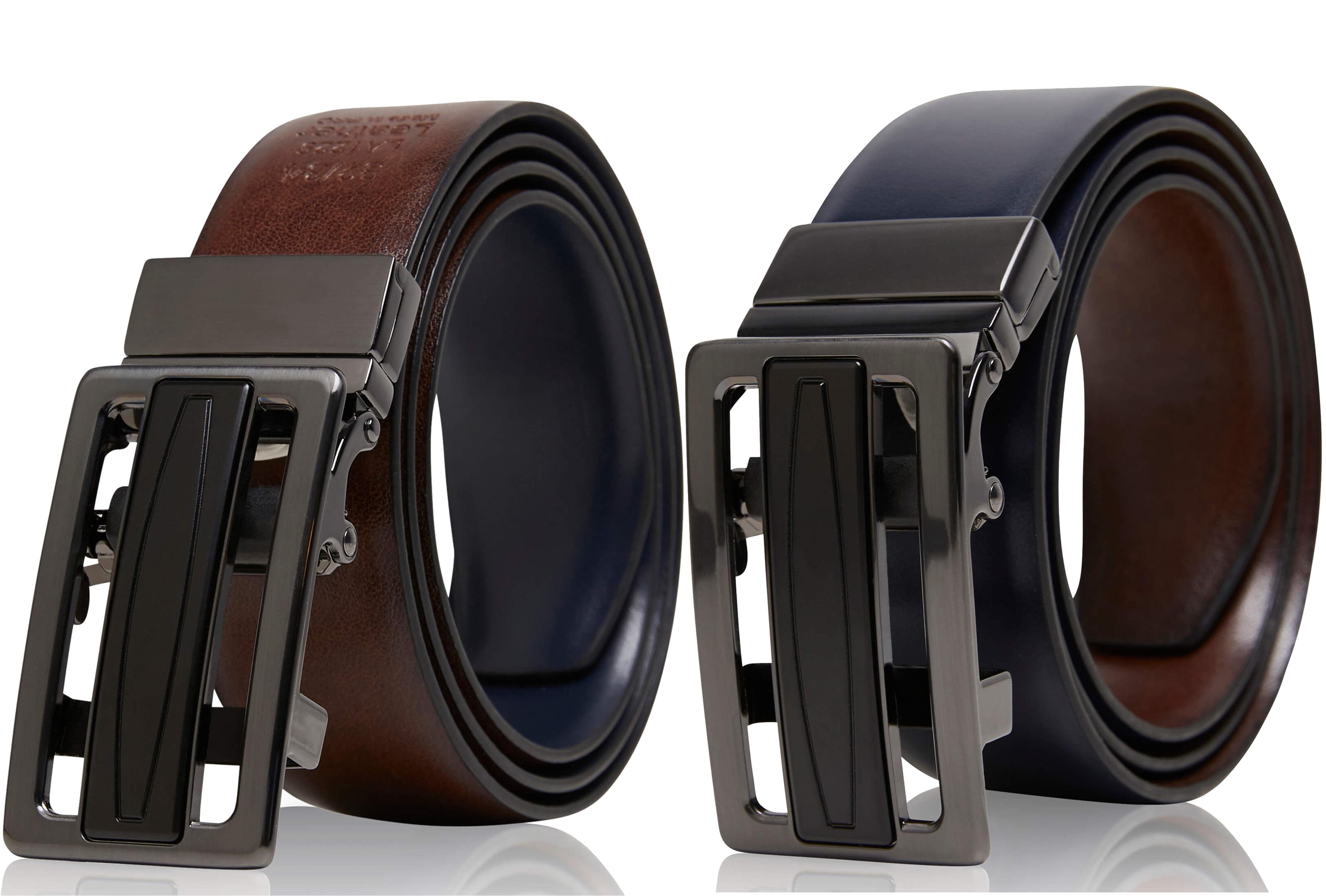 Luxury Genuine Leather mens Adjustable Automatic belt Men Quality Ratchet belts
