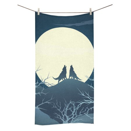 MKHERT The Howling Wolves On A Hill Against Full Moon Bath Towel Hand Towel Shower Towel Washcloth 30x56 inch