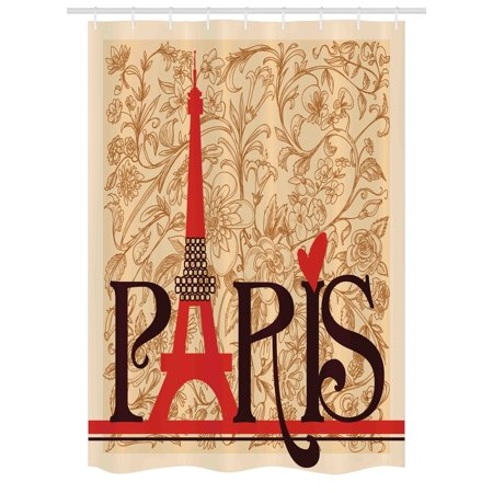 Vintage Stall Shower Curtain, Paris Vintage Floral French Eiffel Tower City Holiday Stylish Postcards Gifts, Fabric Bathroom Set with Hooks, 54W X 78L Inches, Red Brown Ecru, by Ambesonne