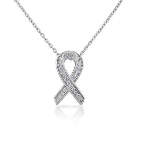 925 Sterling Silver Small CZ Breast Cancer Awareness Ribbon Pendant Necklace
