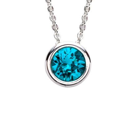X & O Crystal Luxe Silver Plated Swarovski Blue Zircon Crystal Birthstone Necklace
