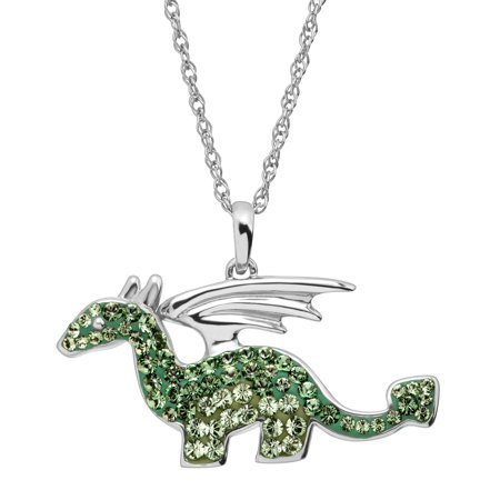 Luminesse Dragon Pendant Necklace with Green Swarovski Crystals in Sterling Silver