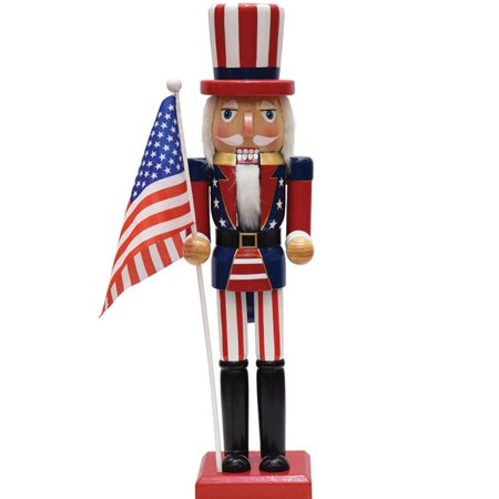"""15"""" Decorative Red White and Blue Wooden Patriotic Uncle Sam Christmas Nutcracker"""