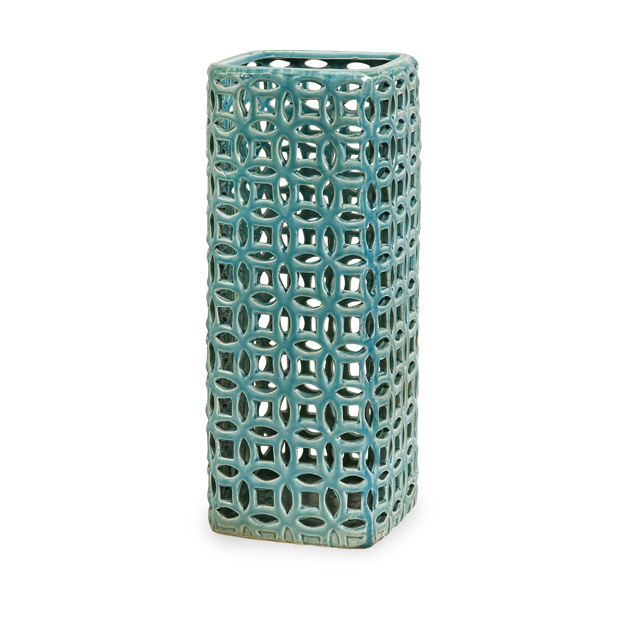 "16.5"" Tall Vivid Blue Hand Cut Ceramic Vase with Graphic Links Pattern"