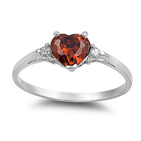 Sterling Silver Women's Flawless Simulated Garnet Cubic Zirconia Solitaire Heart Ring (Sizes 3-10) (Ring Size 10)