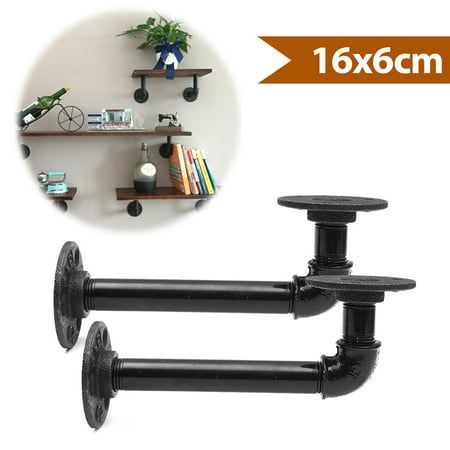 2Pcs 16x6cm Industrial Pipe Shelf Bracket Shelves Shelf Hardware Support Rustic Hanging Wall Mount Heavy Duty Farmhouse with Screw ()