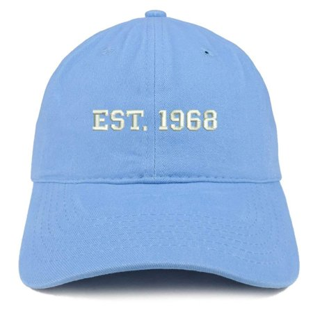 Trendy Apparel Shop EST 1968 Embroidered - 50th Birthday Gift Soft Cotton Baseball Cap