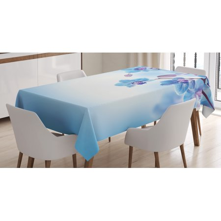 Flower Decor Tablecloth, Orchids Asian Natural Flowers Reflections on Water for Spring Calming Art, Rectangular Table Cover for Dining Room Kitchen, 60 X 90 Inches, Blue and Purple, by Ambesonne - Amscan Tablecloths