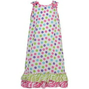 Little Girls Multi Color Gumballs Bow Zebra Ruffle Nightgown 4