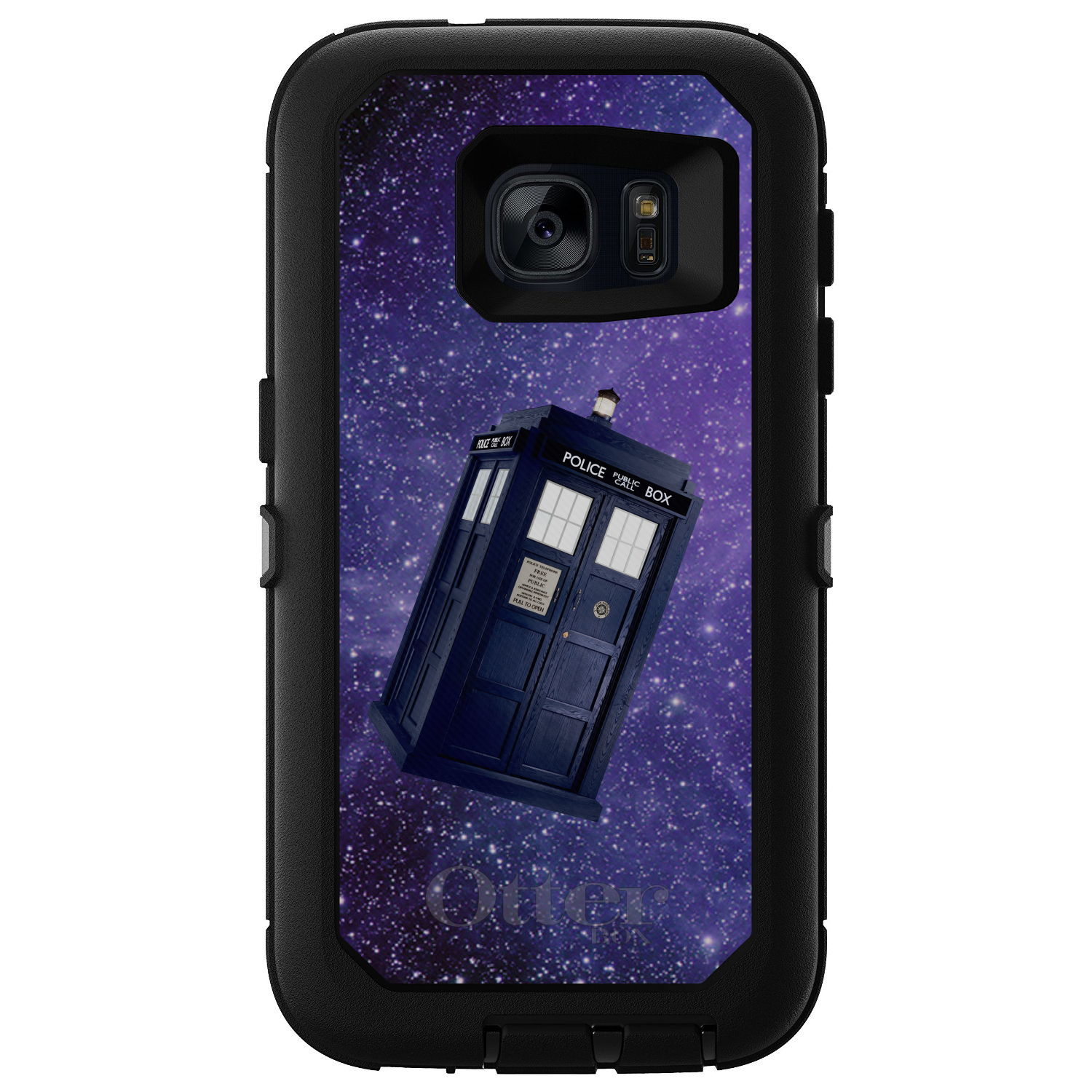 DistinctInk™ Custom Black OtterBox Defender Series Case for Samsung Galaxy S7 - TARDIS Floating in Space