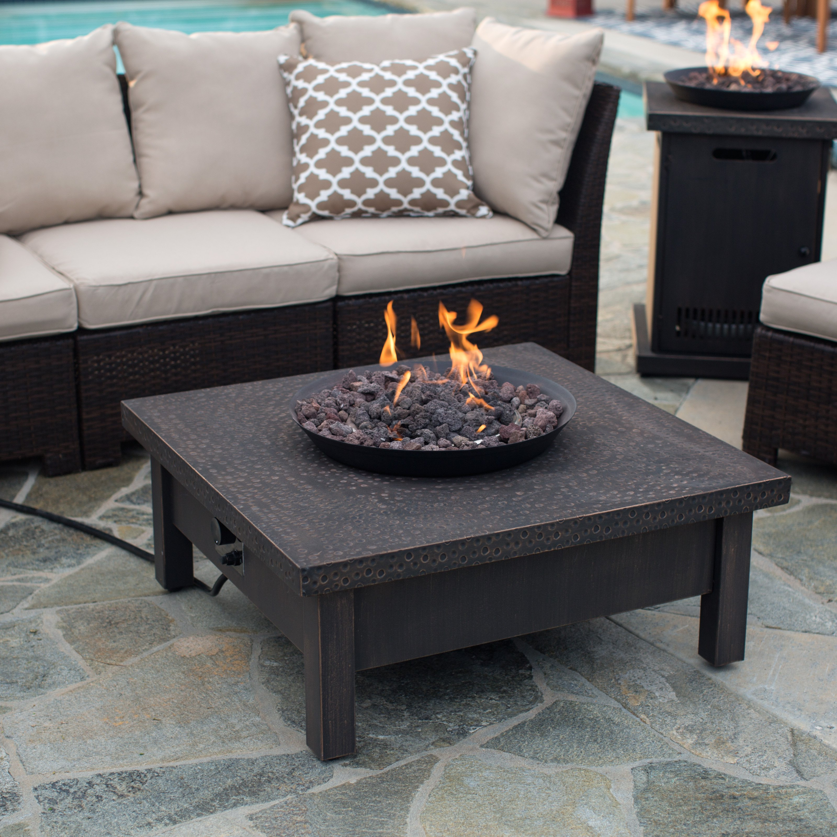Red Ember Livingston 35 in. Square Gas Fire Pit Table
