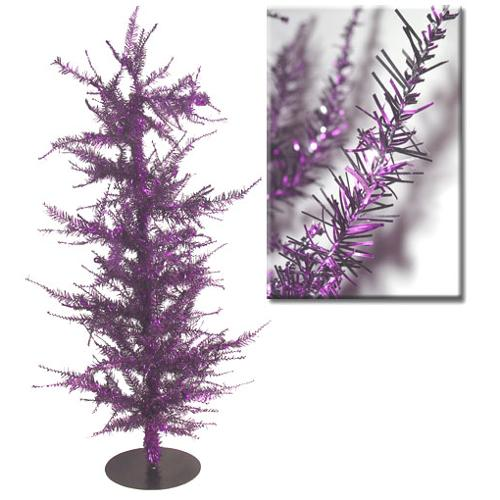 """Whimsical Purple Laser Tinsel Artificial Christmas Tree 36"""""""