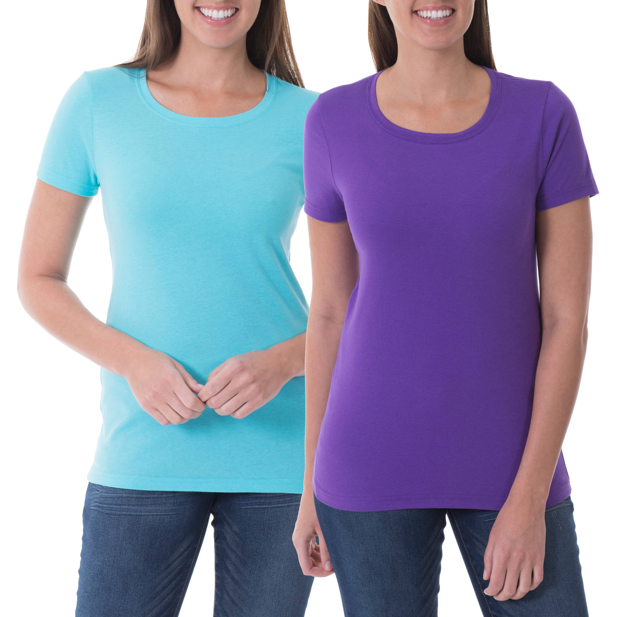 Faded Glory Women's Short Sleeve Crew Neck T-Shirt. 2 Pack Value Combo