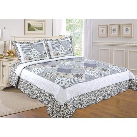 All for You 3pc Reversible Quilt Set, Bedspread, and Coverlet with Flower Prints-4 different sizes-Platinum(Silver/Gray) Patchwork Prints ( full/queen 86