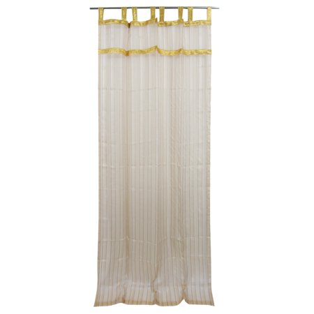 Mogul 2 Organza Sheer Curtains Beige Stripe Pattern Golden Border Panel Window Treament 48