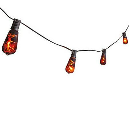 Noma/Inliten-Import V33152-88 Halloween Edison-Style Bulb Light Set, Orange & Black Crackle, 10-Ct. - Gangnam Style Lights Halloween