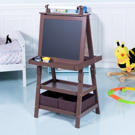Gymax Kids Standing Art Easel Black/Whiteboard Storage Box Painting Easel Paper Roll](Science Supply Store)